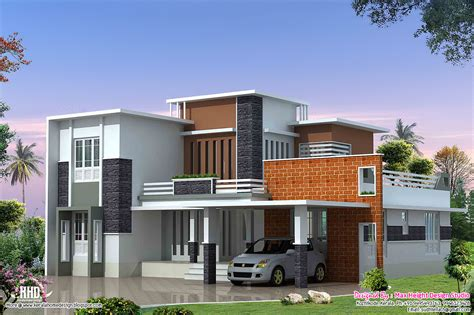 modern house plan 2400 sq modern contemporary villa kerala home design and floor plans