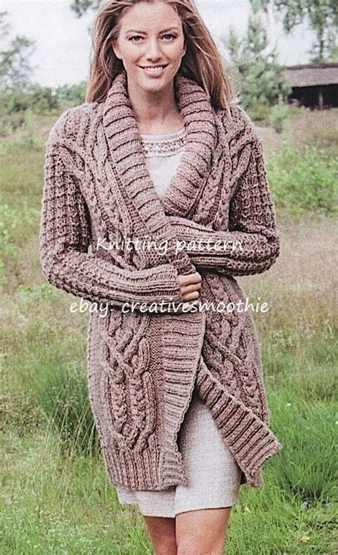 chunky aran knitting patterns 558 aran cardigan jacket coat chunky knitting