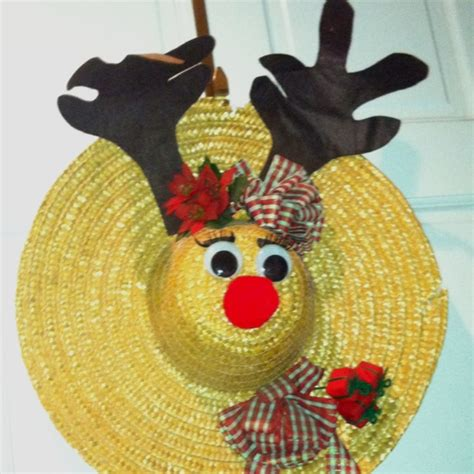 craft hats for reindeer made from straw hat straw hats crafts