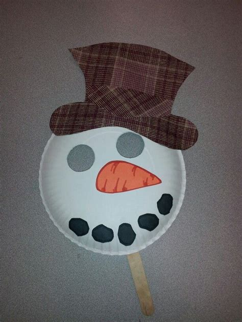 paper snowman craft and easy snow day or winter craft paper plate