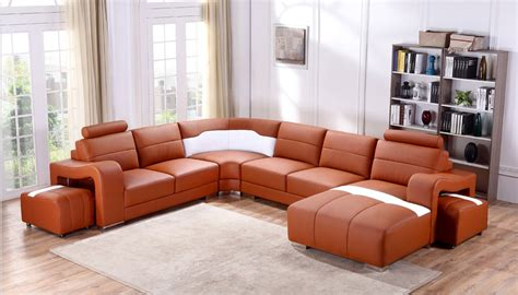 orange leather sectional sofa divani casa t358b modern orange white leather sectional
