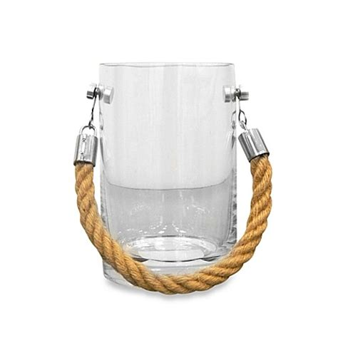 Glass Candle Holder With Rope by Buy Small Clear Glass Candle Holder With Rope Handle From