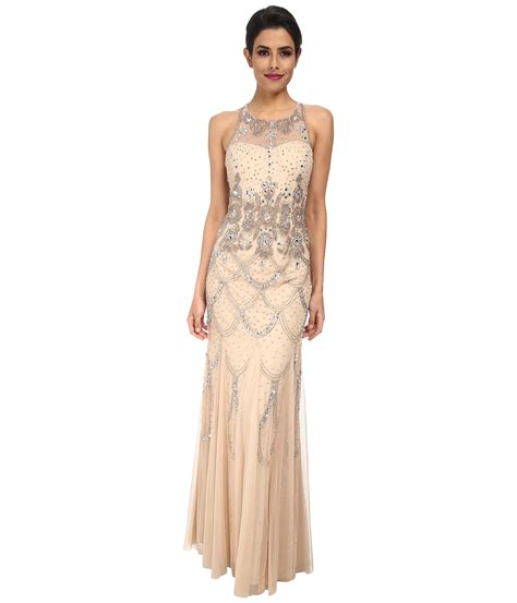 beaded gowns for of the papell halter fully beaded gown chagne