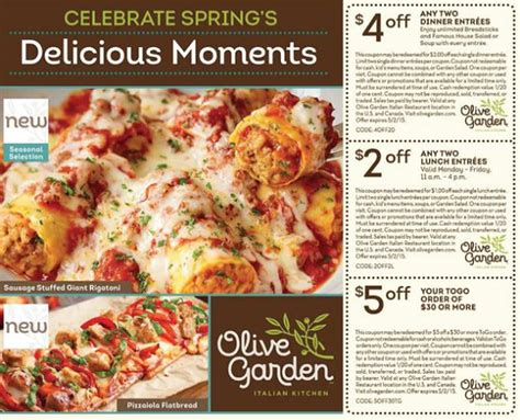 olive garden to go olive garden coupons 4 2 dinner entrees 2 2 lunch entrees and 5 to go orders of 30