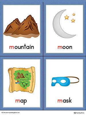 beginning card letter m words and pictures printable cards mountain