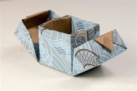 how to make origami gift box with lid origami hinged box tutorial paper kawaii