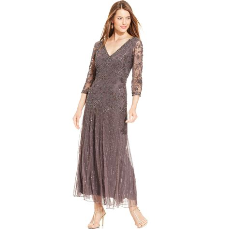 Pisarro Nights Threequartersleeve Beaded Gown In Purple