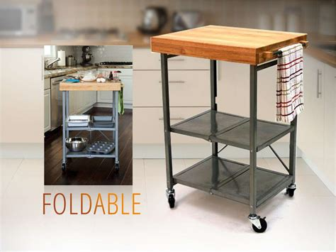 origami kitchen products origami foldable island kitchen cart w grey frame oem