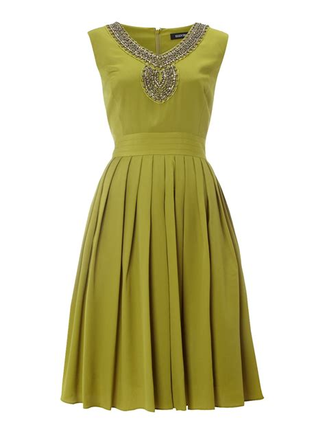 beaded neck dress tracy beaded neck pleat skirt dress in green lime