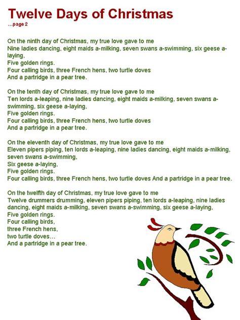 12 days of tree twelve days of lyrics page 2
