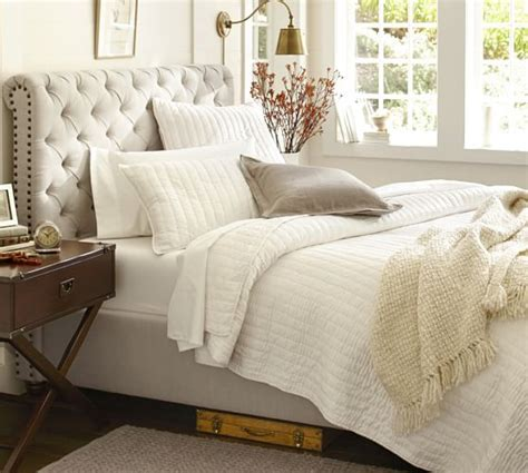 pottery barn beds chesterfield upholstered bed headboard pottery barn