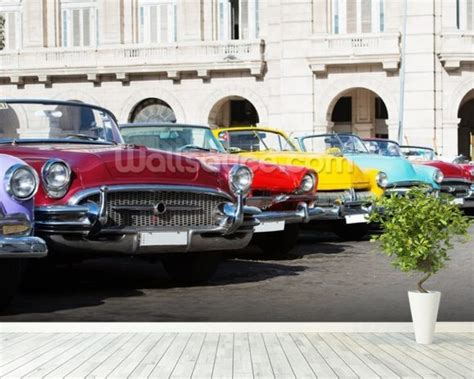 Classic Car Wallpaper Setting Es by Colorful American Classic Cars Wallpaper Wall Mural