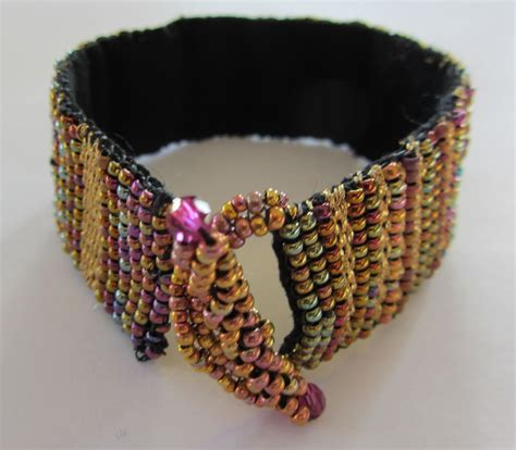 how to bead weave without a loom gold thread and bead bracelet mirrix tapestry bead looms