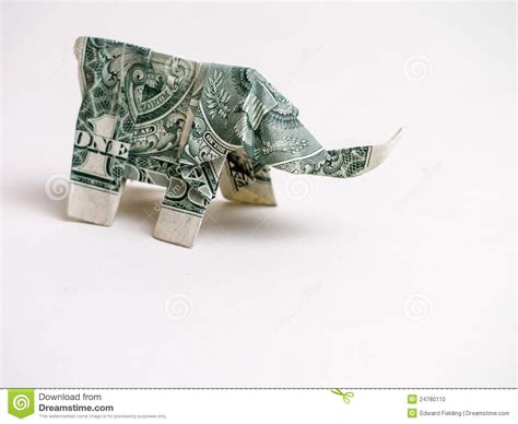 origami out of a dollar bill one dollar bill origami elephant stock photo image 24780110