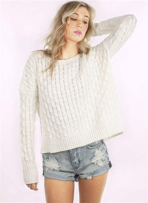white knit sweater white sweater ivory sleeve cable knit ustrendy