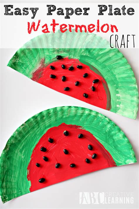 easy paper craft easy and simple paper plate watermelon craft project