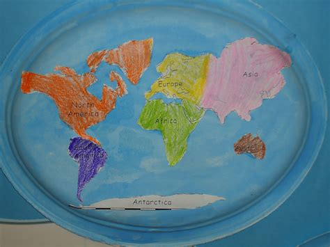 map craft paper literacy minute paper plate continents