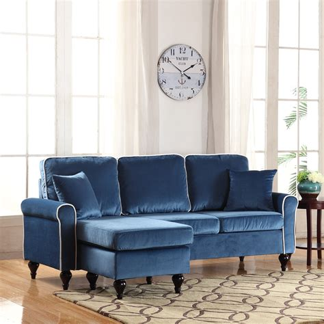 reversible chaise sectional sofa traditional small space blue velvet sectional sofa with