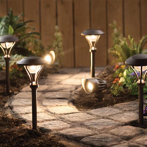 landscape lighting lumens led 6 pack landscape lighting kit 4 pathway lights 2 spotlights textured rubbed bronze