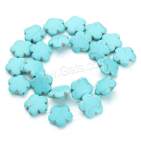 synthetic turquoise synthetic turquoise flower blue 19x7mm gets