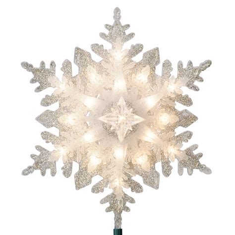 snowflake tree toppers shop ge 11 in silver lighted plastic snowflake