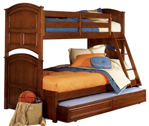 deer run bunk bed lea deer run bunk bed in brown cherry