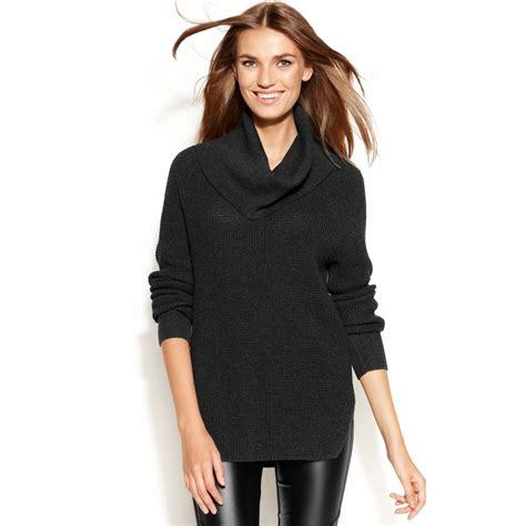 waffle knit sleeve michael kors sleeve waffle knit cowl neck in black lyst