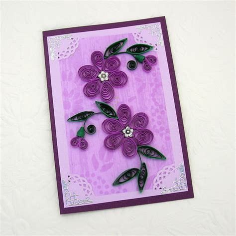 paper greeting cards paper quilling greeting card paper quilled purple