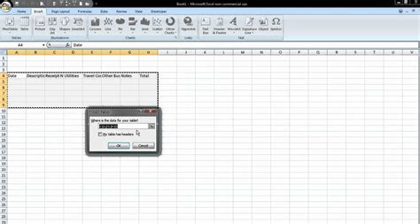 how to insert how to insert a table in excel 2007