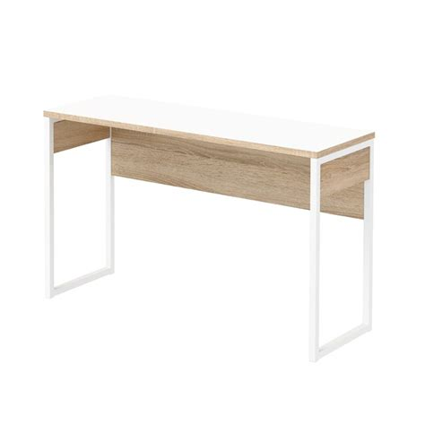 narrow white desk narrow computer desk in white and oak structure 8018849ak