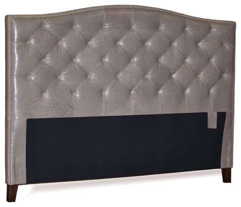 grey headboard leather tufted headboard gray with pewter nail