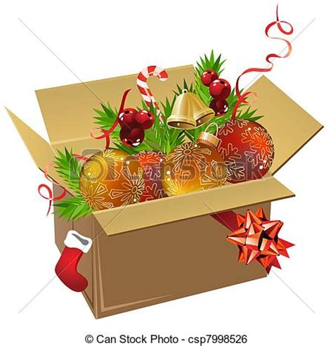 box of decorations clip vector of paper box of balls and