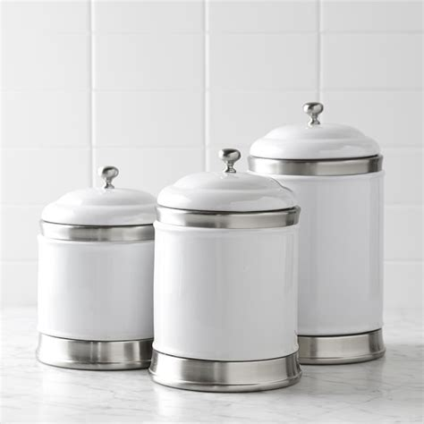 white kitchen canister set williams ceramic canisters set of 3 williams sonoma