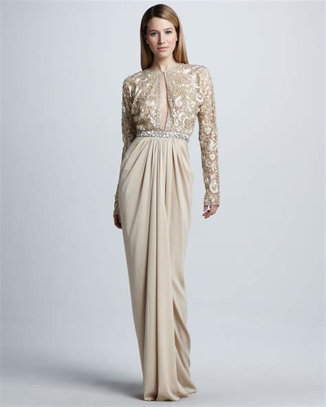 beaded gown naeem khan longsleeve beaded drapeskirt gown in lyst