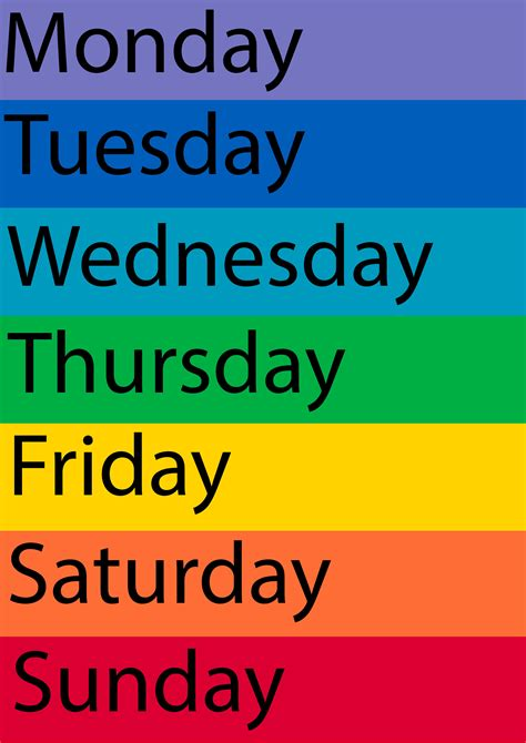 6 best images of days of the week printables days of the