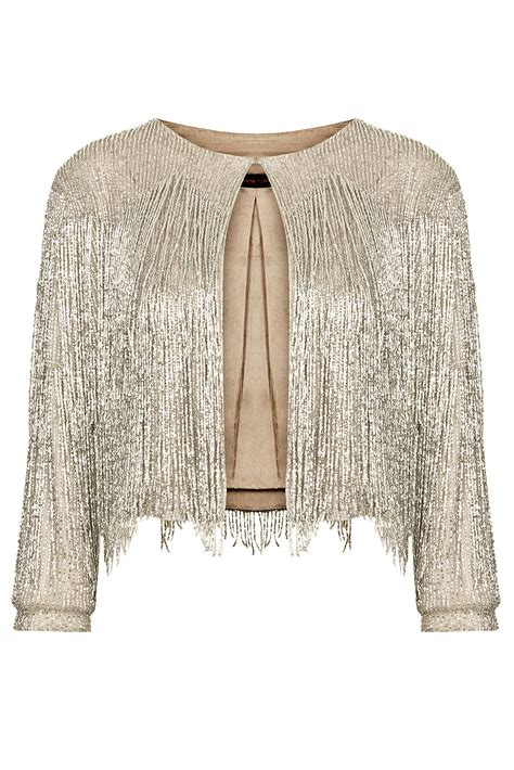 beaded jacket topshop beaded fringe jacket by kate moss in silver lyst