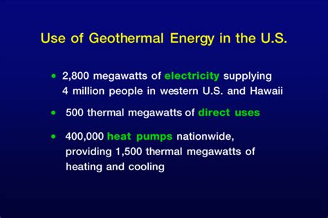 use of introduction to geothermal energy use of geothermal in us