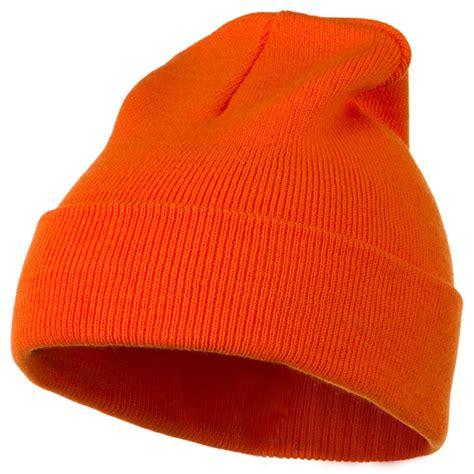orange knit beanie orange 12 inch knitted beanie cuff beanie