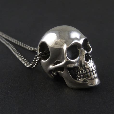 sterling silver skull skull necklace sterling silver human skull pendant on 24