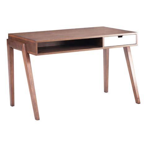 modern table desk contemporary wooden office desk in walnut finish with