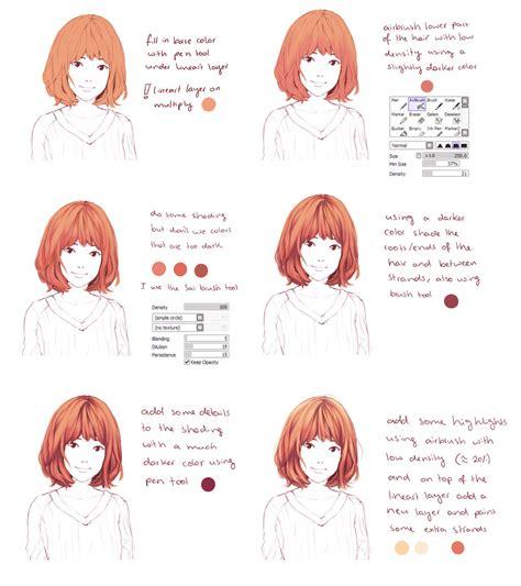 paint tool sai anime tutorial deviantart hair coloring tutorial by hiba on deviantart