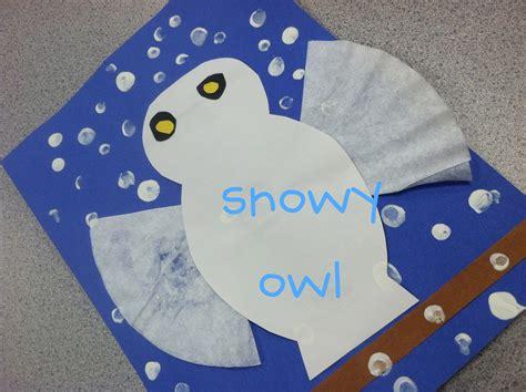 winter animal crafts for snow owl kindergarten winter