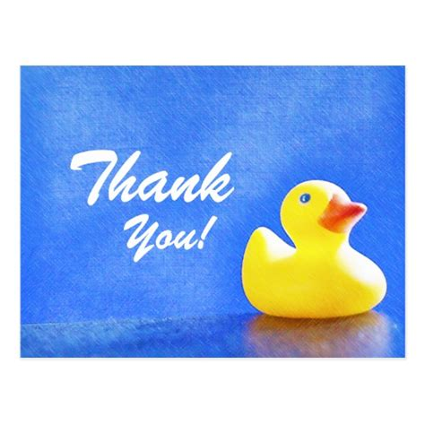rubber thank you st rubber ducky thank you cards postcard zazzle