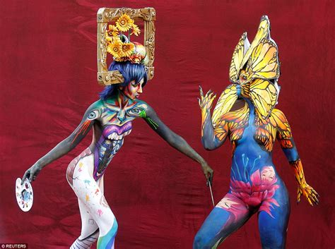 the painting festival world bodypainting festival models turn themselves into