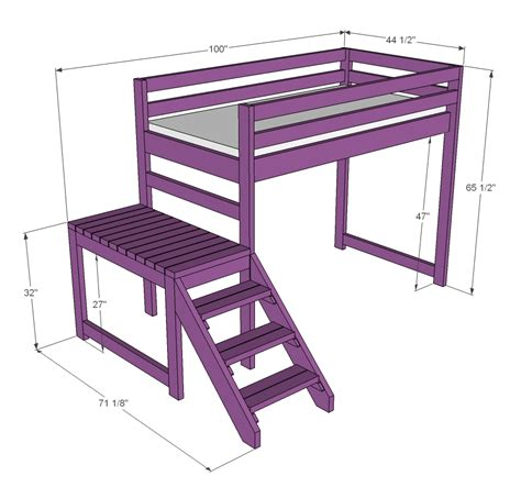 bed loft plans white c loft bed with stair junior height diy