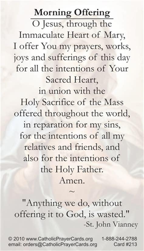 catholic prayer sacred morning offering prayer card