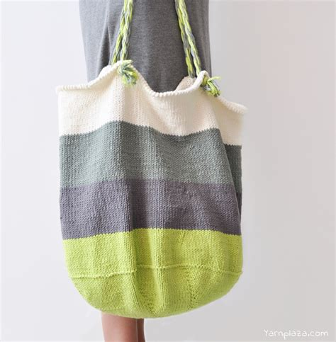 free knitting patterns for bags totes knitted tote bag free pattern yarnplaza for