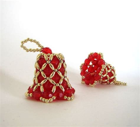 beaded bell ornament bell beaded ornament with gold
