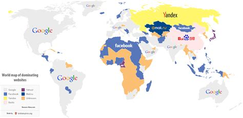 most popular site a world map of the most visited websites