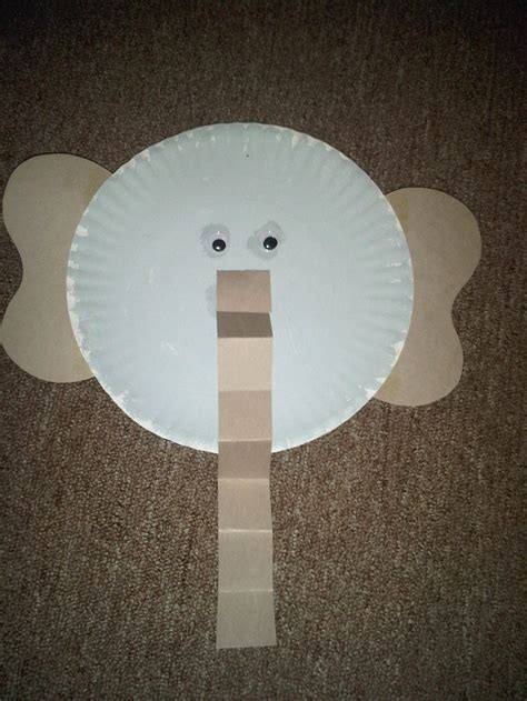 paper elephant craft paper plate elephant preschool crafts